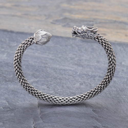 Unisex Sterling Silver Cuff with Dragon and Lotus 'Dragon and Lotus'
