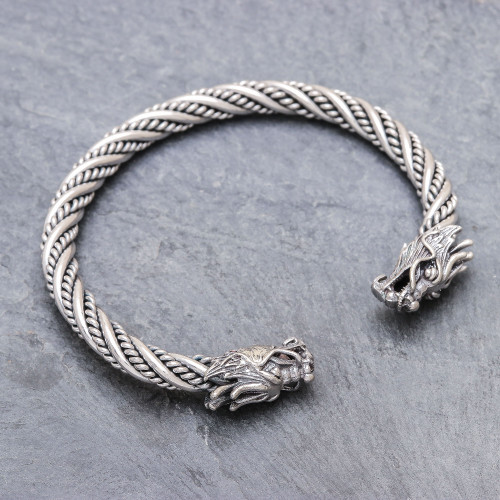 Dragon Themed Unisex Sterling Silver Cuff Bracelet 'Double Dragons'