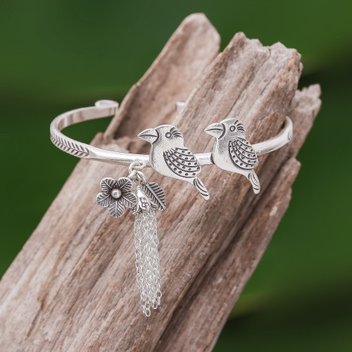 Rainforest Bird Themed Sterling Silver Cuff Bracelet 'Rainforest Birds'
