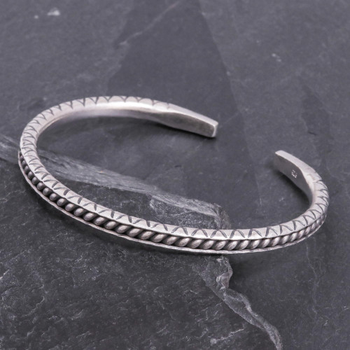 Hill Tribe Style Sterling Silver Cuff Bracelet 'Hill Tribe Trail'