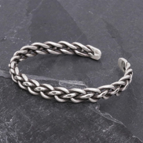 Braided Sterling Silver Cuff Bracelet from Thailand 'Stepping Stones'