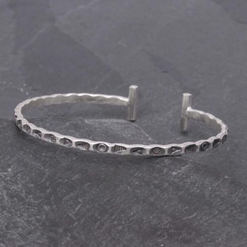 Slender Stamped Sterling Silver Cuff Bracelet 'Karen Flavor'