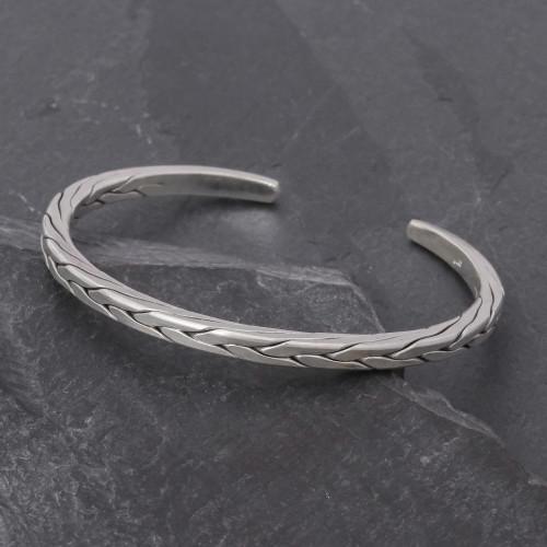 Sleek Braided Sterling Silver Cuff Bracelet 'Mountain Walk'