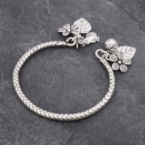 Woven 950 Silver Cuff Bracelet with Charms 'Springtime Charm'