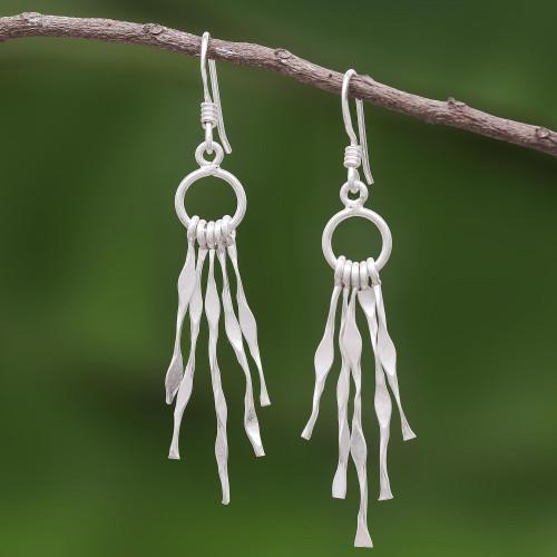 Unique Sterling Silver Dangle Earrings 'Wisp'