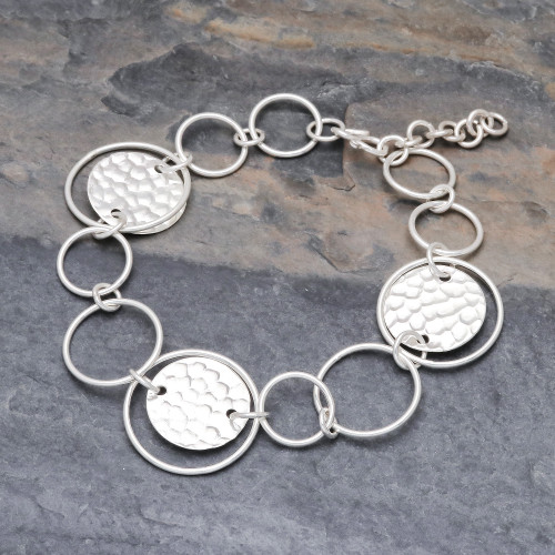 Contemporary 950 Silver Link Bracelet 'Outer Galaxy'