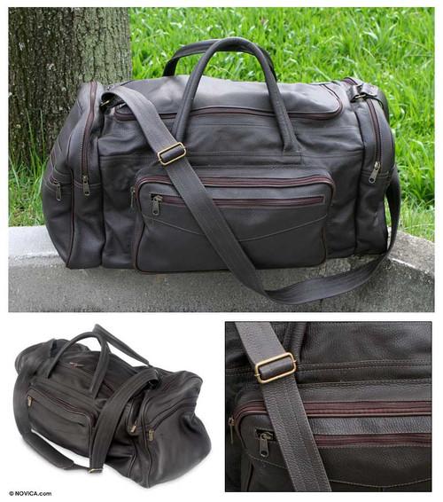 Leather travel bag 'Brazil in Dark Brown'