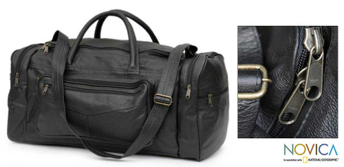 Leather travel bag Medium 'Brazil in Black'
