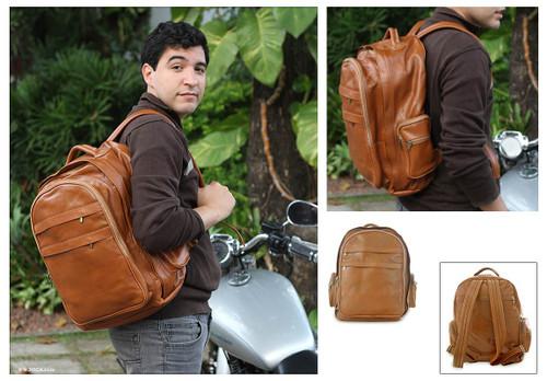 Multi-pocket leather backpack 'Caramel Brazil'
