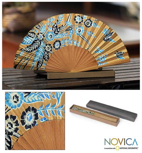 Handmade Silk Batik Fan 'Golden Paradise'