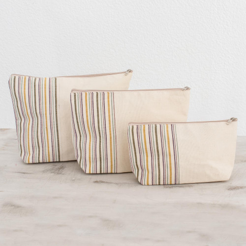 Artisan Crafted Cotton Cosmetic Travel Bags Set of 3 'Happiness'