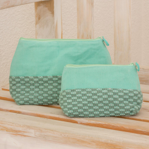 Fair Trade Floral Cosmetic Bags Pair 'Spring Blooms'