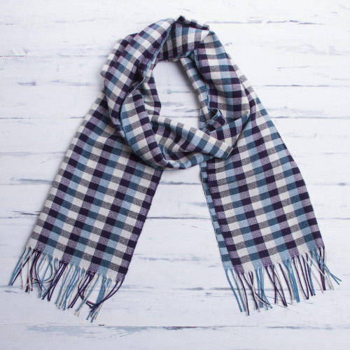 Mens Handwoven Purple and Turquoise Alpaca Scarf with White 'Andean Style'