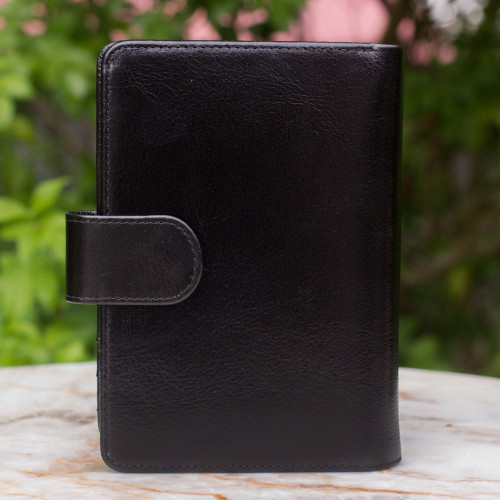 Leather passport holder 'Deep Black Voyages'