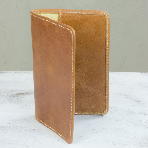 Honey Camel Brown Leather Passport Case Handmade in Mexico 'Honey Camel'