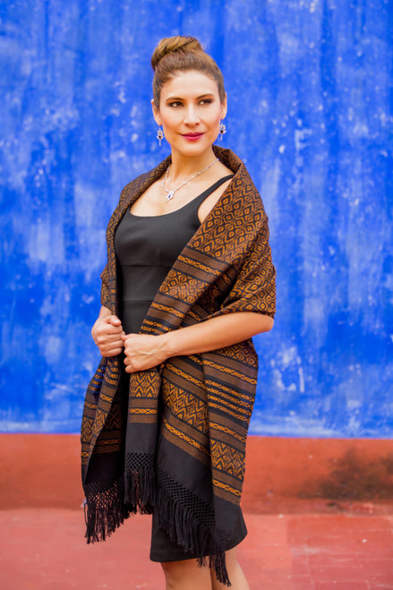 Handwoven Zapotec Cotton Shawl in Black and Orange 'Dry Leaves'