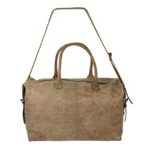 Mexican Artisan Crafted Casual Taupe Leather Travel Bag 'Taupe Traveler'
