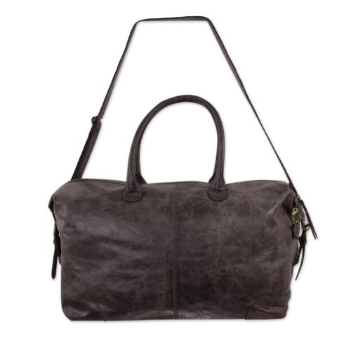 Artisan Crafted Casual Espresso Brown Leather Travel Bag 'Espresso Traveler'