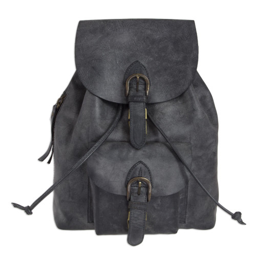 Sturdy Dark Grey Leather Backpack from Mexico 'Black Highroad'