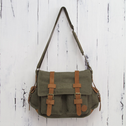 Leather Accent Roomy Canvas Messenger Bag in Green 'Journey to Manu'