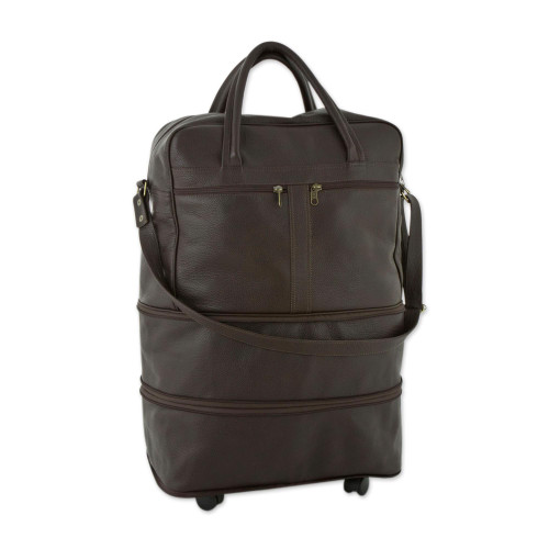 Dark Brown Leather Collapsible Travel Bag with Pockets 'Style Traveler'