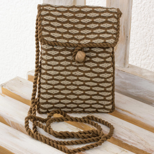 Hand Woven 100 Cotton Brown and Beige Sling Bag 'Travels'