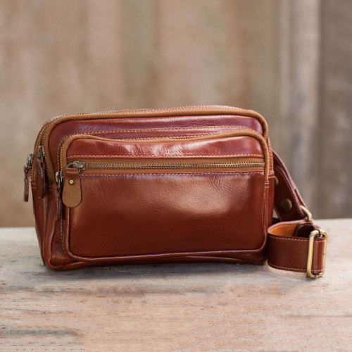 Light Brown Leather Waist Pack with Five Zip Compartments 'Let's Walk'