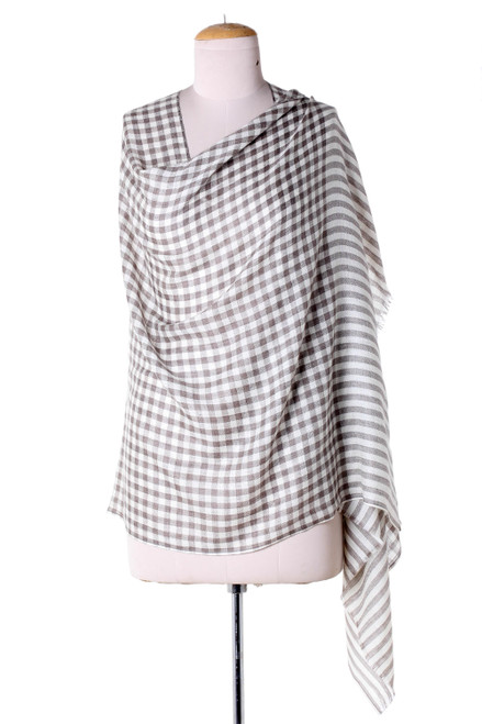 Cream Color Wool Shawl with Thin Checkered Grey Composition 'Grey Checkered Lands'