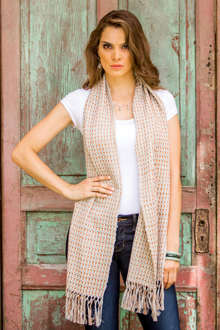 Saddle Brown Steel Blue Cotton Scarf from Guatemala 'Natural Combination'