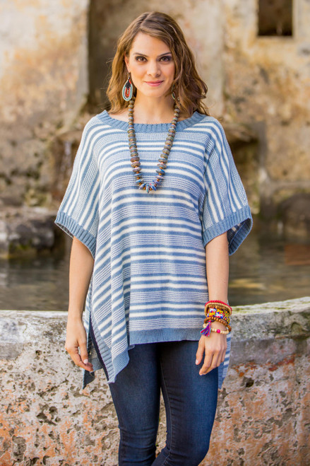 Cotton Poncho Blue Stripes Wood Buttons from Guatemala 'Elegant Stripes'