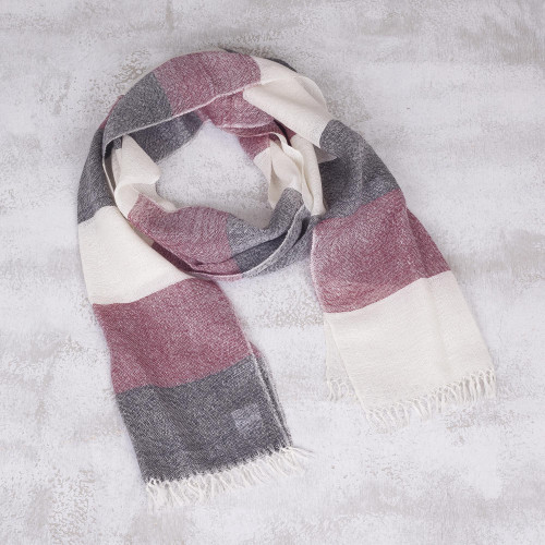 Baby Alpaca Fringed Scarf in Wine Black and Ivory from Peru 'Andean Poise'