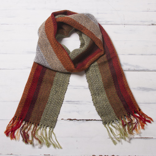 Handwoven 100 Alpaca Scarf with Stripes from Peru 'Dream of Colors'