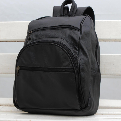 Adjustable Leather Backpack in Black from Brazil 'Sophisticated Traveler'