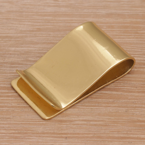 Classic Style Plain Brass Money Clip from Bali 'Timeless Classic'