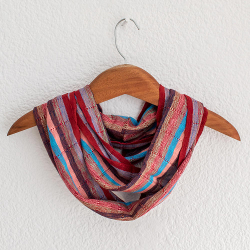 Loom Woven Striped Rayon Infinity Scarf from Guatemala 'Tenderness'