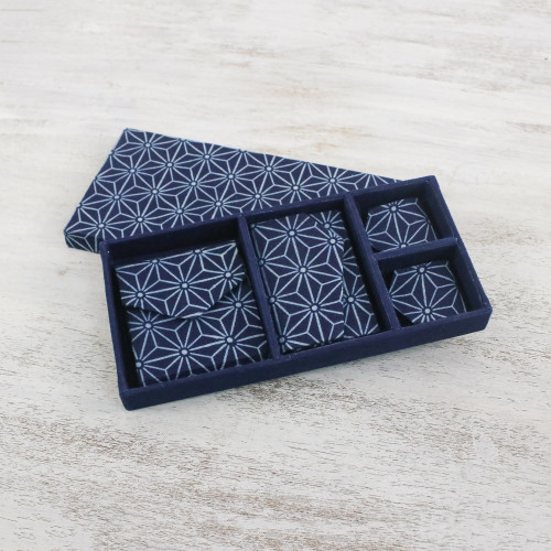 4 Piece Handcrafted Blue Cotton Print Gift Set from Thailand 'Heavenly Stars'