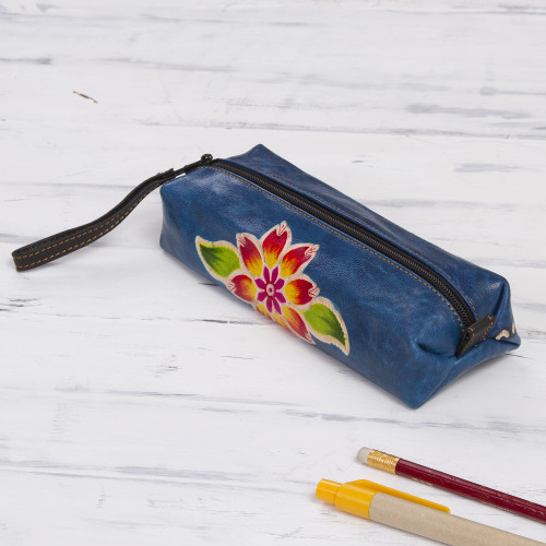 Blue Leather Makeup Case with Hand Painted Flower 'Cusco Sky'