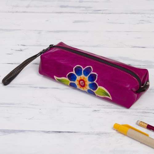 Magenta Leather Pencil Case with Hand Painted Flower 'Cusco Bloom'