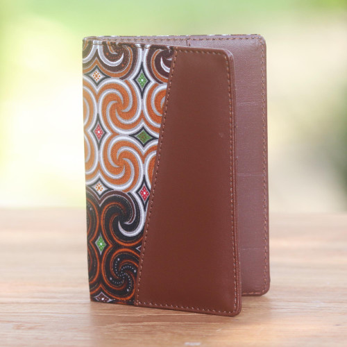 Brown Faux Leather and Colorful Cotton Print Passport Holder 'Winds of Travel'