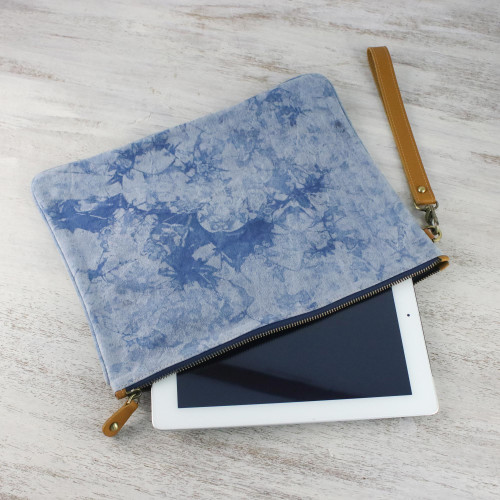 Blue Tie-Dyed Leather Accent Cotton Clutch from Thailand 'Blooming Blue'