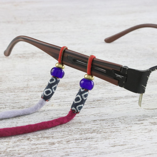Adjustable Beaded Cotton Eyeglasses Cord in Purple 'Focus in Colors'