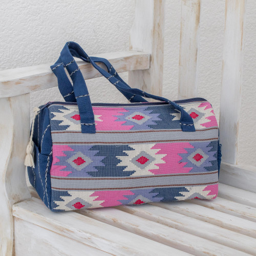 Handwoven Pastel Cotton Travel Bag from Guatemala 'Pastel Geometry'