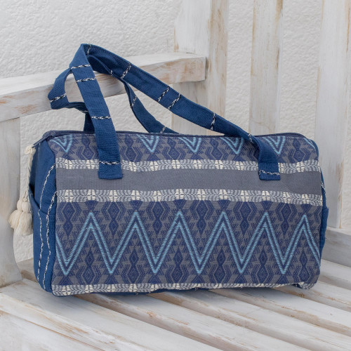 Cotton Travel Bag in Indigo and Smoke from Guatemala 'Indigo Lakes'