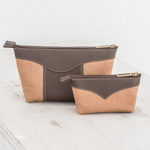 Leather Cosmetic Bags in Espresso and Honey Pair 'Complementary Espresso'