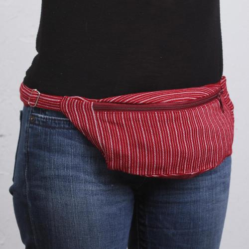 Striped Cotton Waist Pack in Crimson from Mexico 'Crimson Traveler'