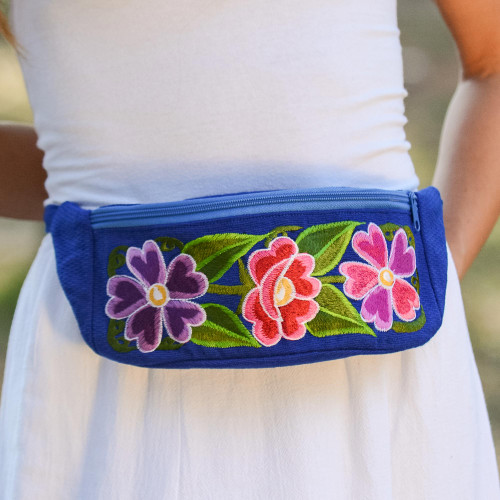 Handwoven Blue with Pink Floral Motif Cotton Belt Bag 'Garden on the Go'