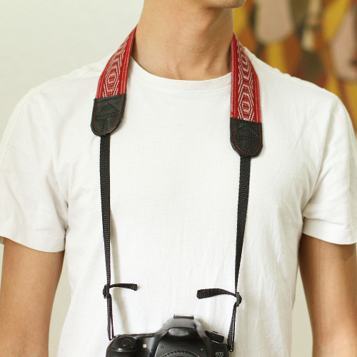 Leather Reinforced Handwoven Brick Red Cotton Camera Strap 'Chic Catch'