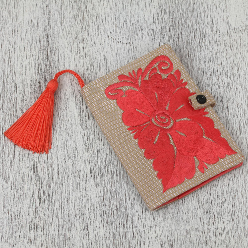 Floral Embroidered Cotton Passport Wallet in Deep Rose 'Deep Rose'