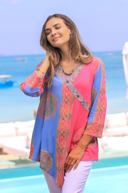 Pink and Blue Hand Batik Textured Rayon Flowing V-Neck Tunic 'Color Symphony in Rose'