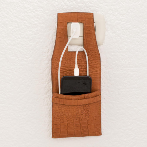Handcrafted Leather Charging Bag from El Salvador 'Modern Solution'